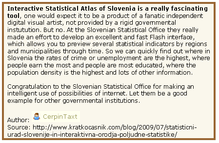 Blog entry about the Atlas (translated from Slovenian)