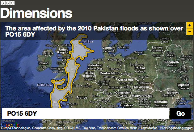 Area of 2010 Pakistan Floods Overlaid the UK